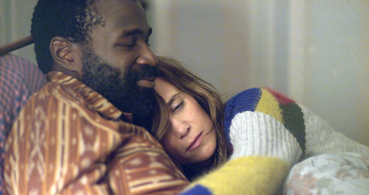 Tunde Adebimpe and Kristen Wiig in Nasty Baby.