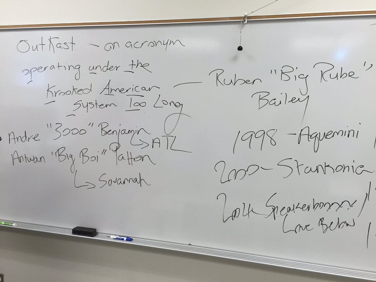 A whiteboard from one of Dr. Bradley's classes.