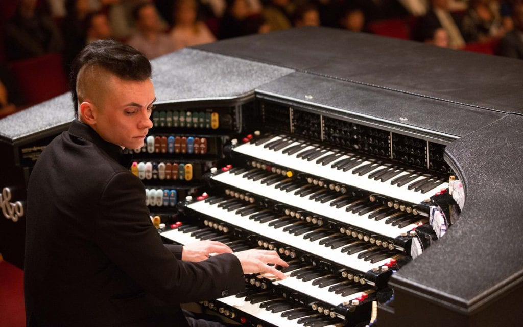 Cameron Carpenter with his custom-built organ. (Photos by Jeff Roffman)