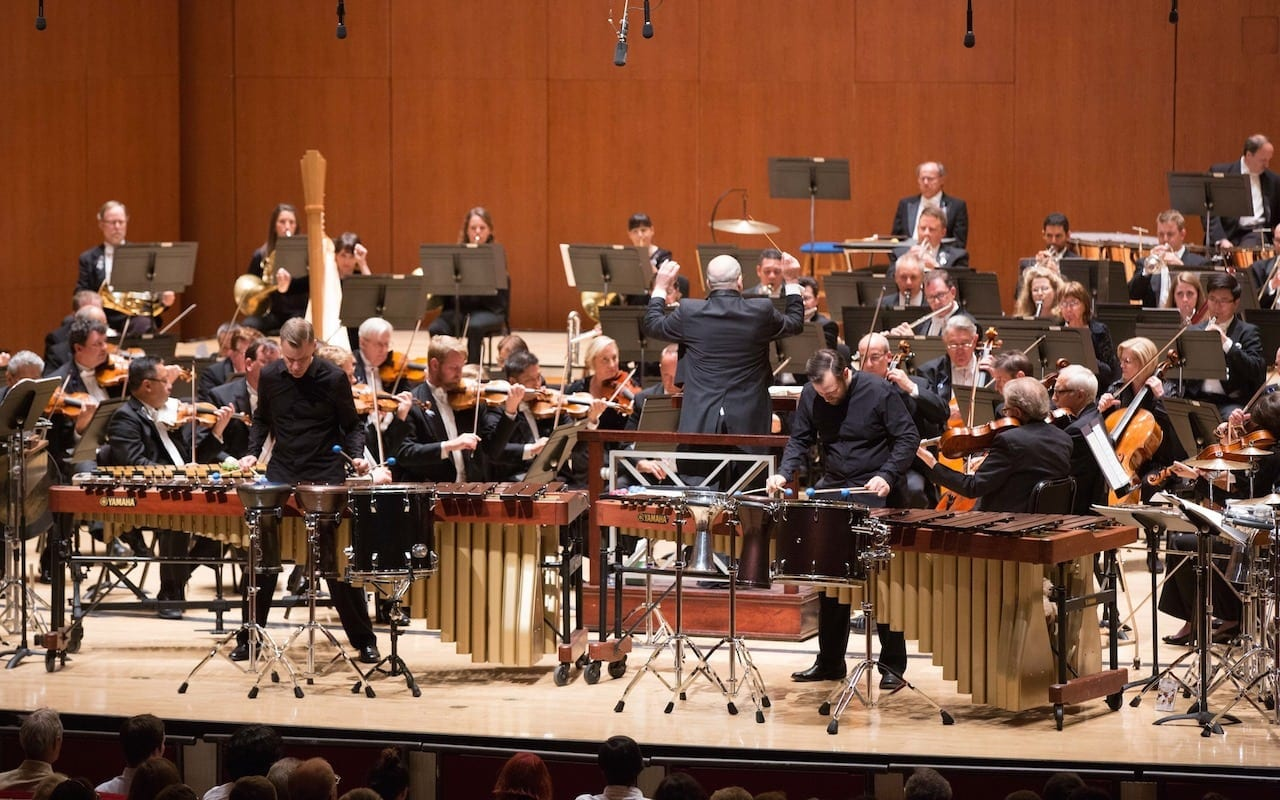 Tom Sherwood (left) and Charles Settle brought the percussion to the forefront.(Photos by Jeff Roffman)
