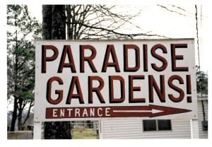 Picture of the Paradise Gardens entrance, 1990. Image taken by and courtesy of Phillip March Jones.