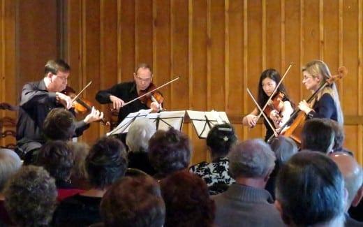 The Peachtree String Quartet in their home venue in GardenHills. (Photo by Mark Gresham)