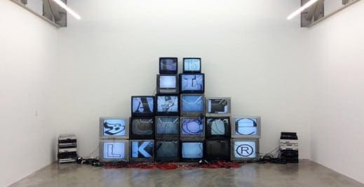 Paul Stephen Benjamin: ABCKLx 2013, TV monitors, DVD players, cables, extension cords, power strips.Courtesy the artist