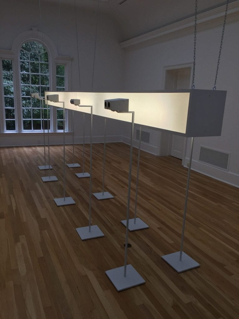 "A view of the installation of ""Vent"" at the Swan Coach House Gallery."