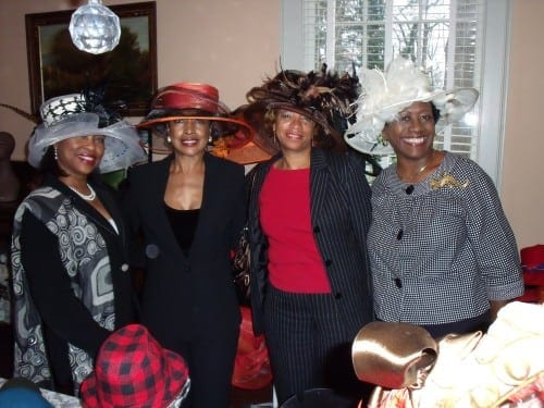Smith Plantation tea, from left:  Lorraine Stallings, S. Claudia Lang Pitts, Louise Alexander, Donna Coles.