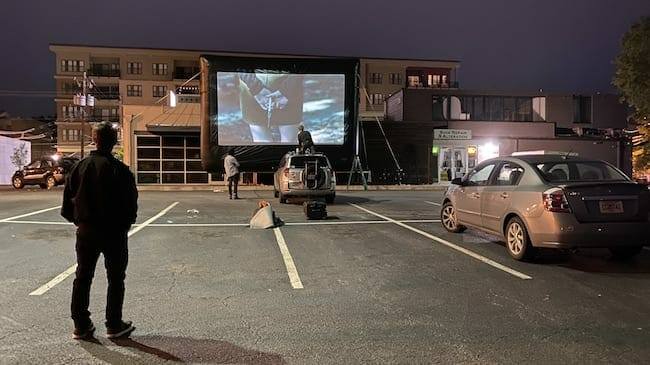 Plaza pop-up drive-in May 2020