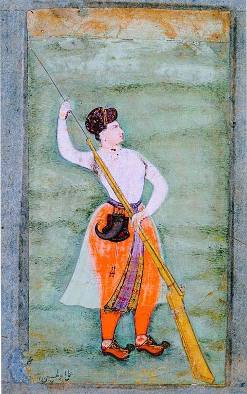 Empress Nur Jahan holds a gun