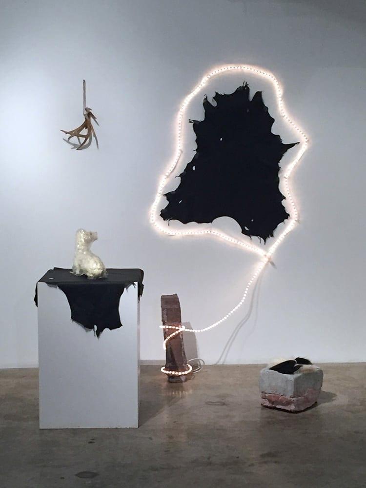 The Pillar: Pills, Rabies (Hubertus); sculptural installation; deer hide, antlers; LED lights; concrete; resin; foam taxidermy form; 2016