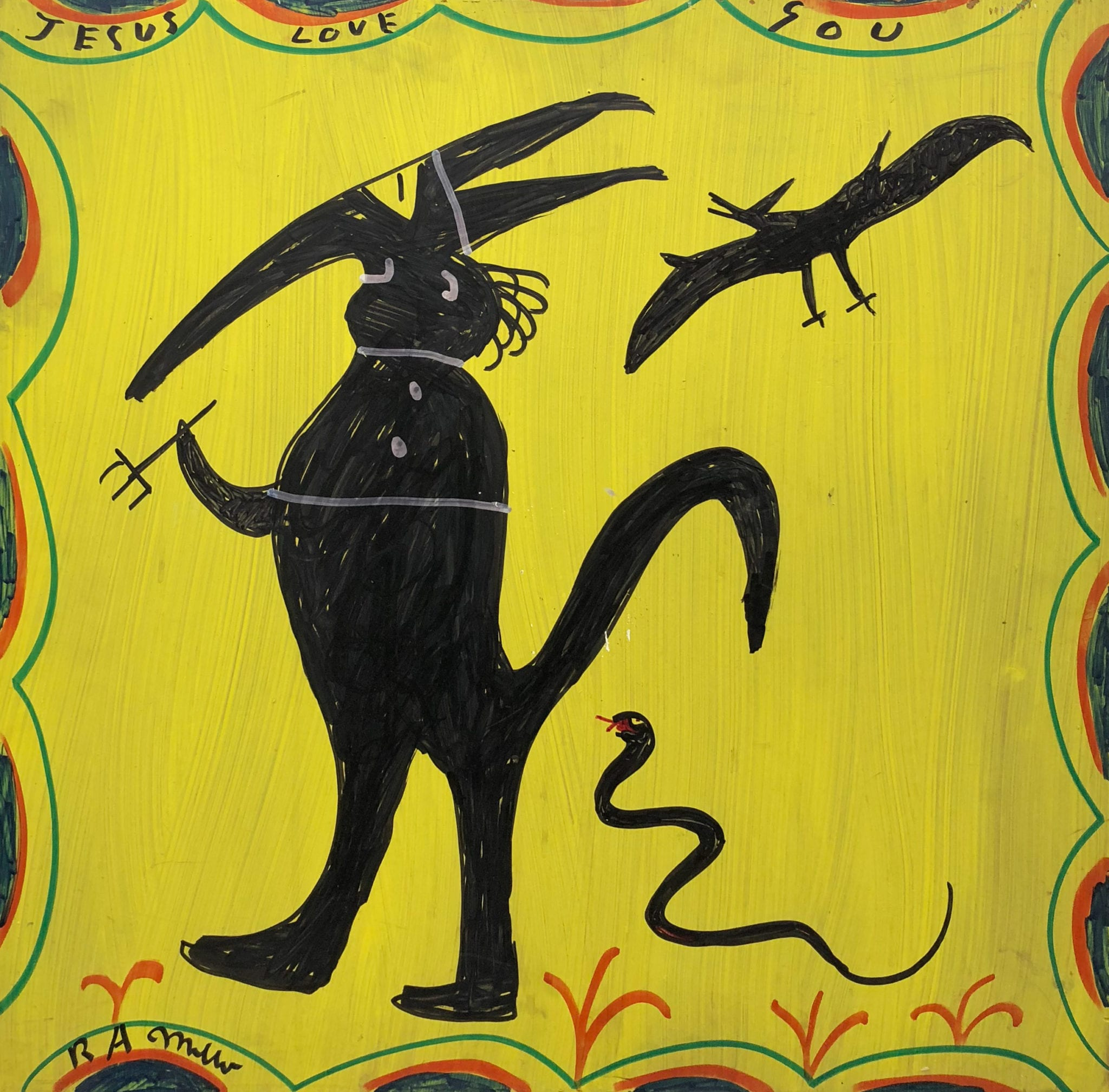 An abstract devil figure with serpent and bat by R.A. Miller
