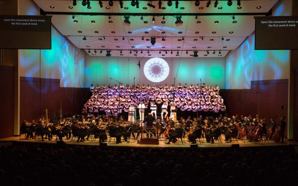 """Artistic director Robert Spano led the Atlanta Symphony Orchestra and Chorus in the stellar performance of  """"Creation/Creator."""" (Photo by Jeff Roffman)"""