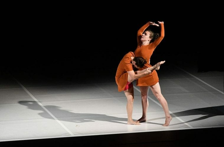"Two dancers perform at Atlanta's ""Off the EDGE"" program."