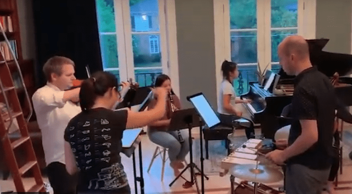Ensemble vim perform one of their first concerts.