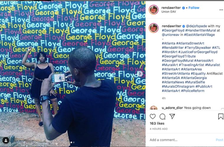 """Renda Writer's George Floyd """"handwritten mural"""" 2020"""