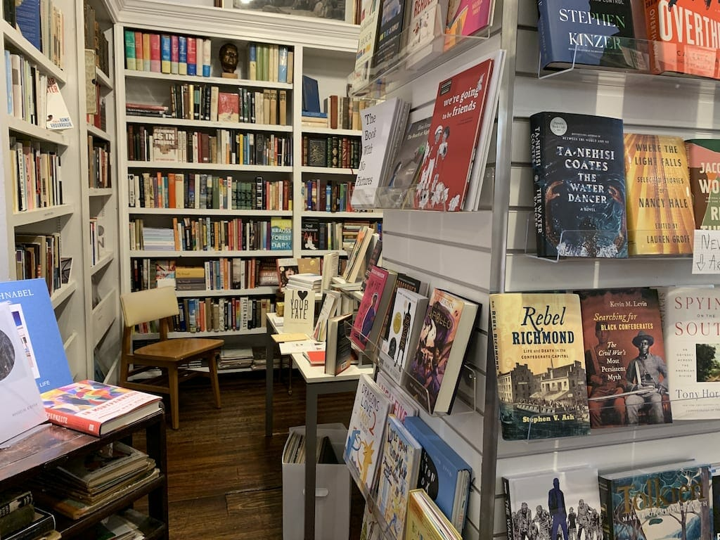 Interior photo of a cozy corner in the Sweet Melissa Records and Books shop.