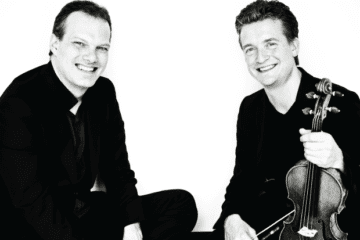 Pianist Lars Vogt (left) and violinist Christian Tetzlaff pose for a photograph.