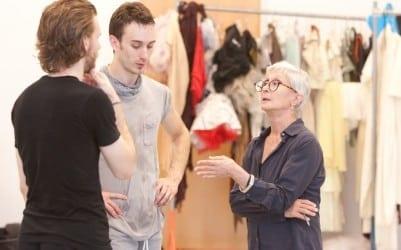 Tharp in rehearsal with Atlanta Ballet's Christian Clark. (Photo by Kim Kinney)
