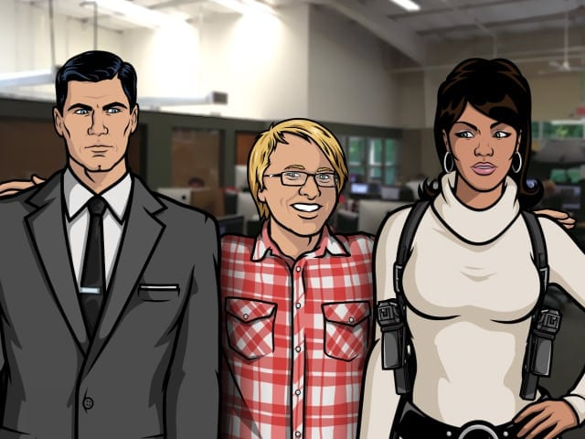 Thomas Weiser, center, with super spies Sterling Archer and Lana Kane. (Animation by Kelton Hamm)
