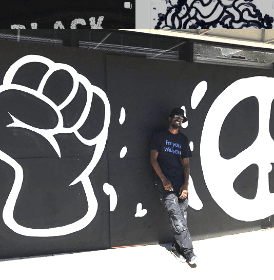Travis Love and BLM mural June 2020