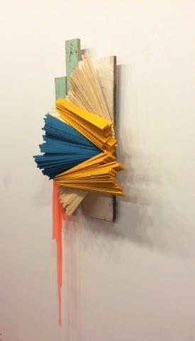 Justin Rabideau,Tucked Away,  2015, salvaged wood, paint, plastic.