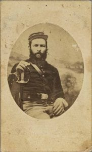 Portrait of African American Private Nelson J. Campbell of the Sixth U.S. Colored Calvary, ca. 1860, Photograph