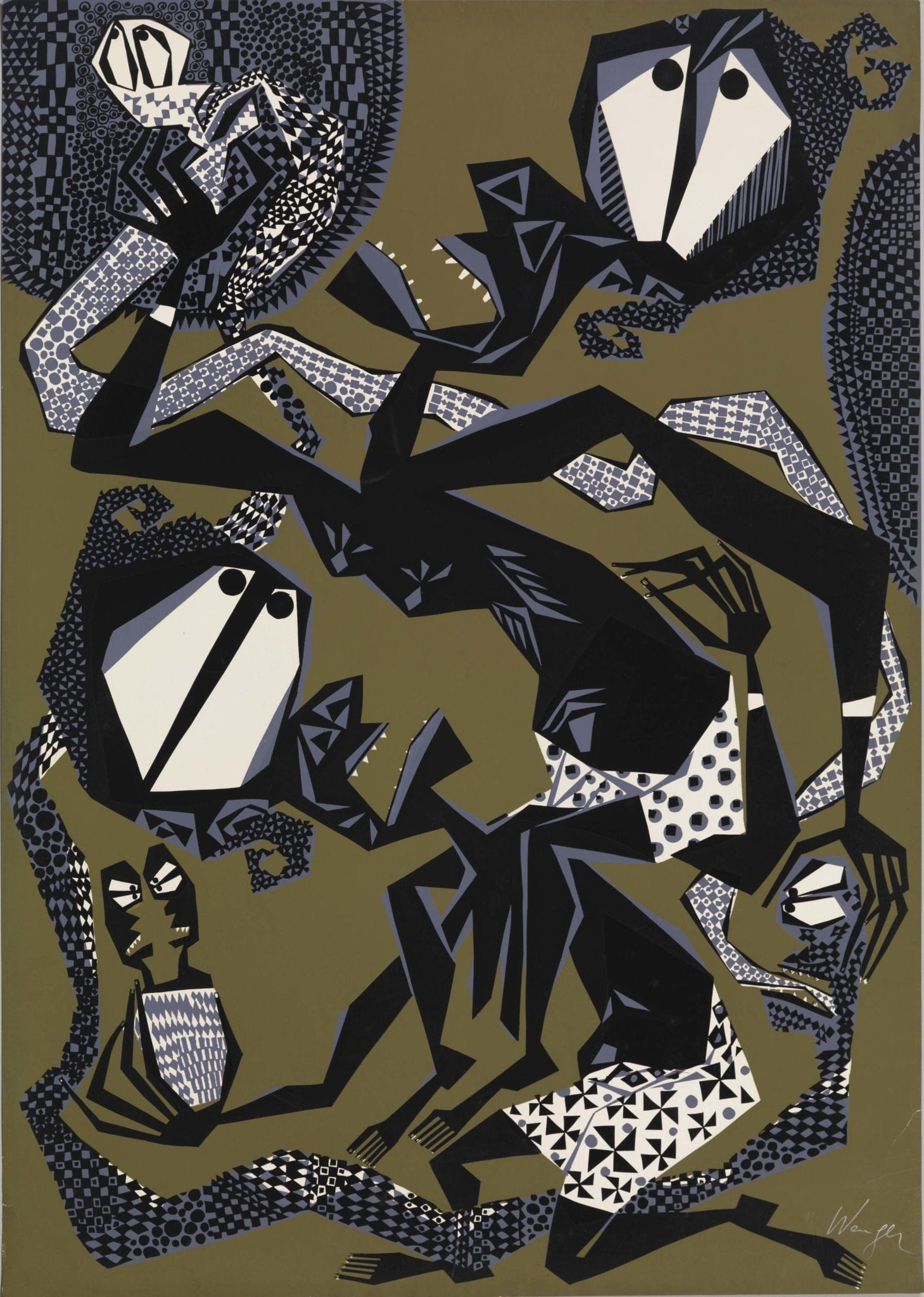 Susanne Wenger (Nigerian, Born Austria, 1915 – 2009) Untitled. ca. 1960. Screenprint. Gift of Graham and Maryagnes Kerr. © Susanne Wenger Foundation. Photo by Bruce M. White, 2014, courtesy of the Michael C. Carlos Museum, Emory University.