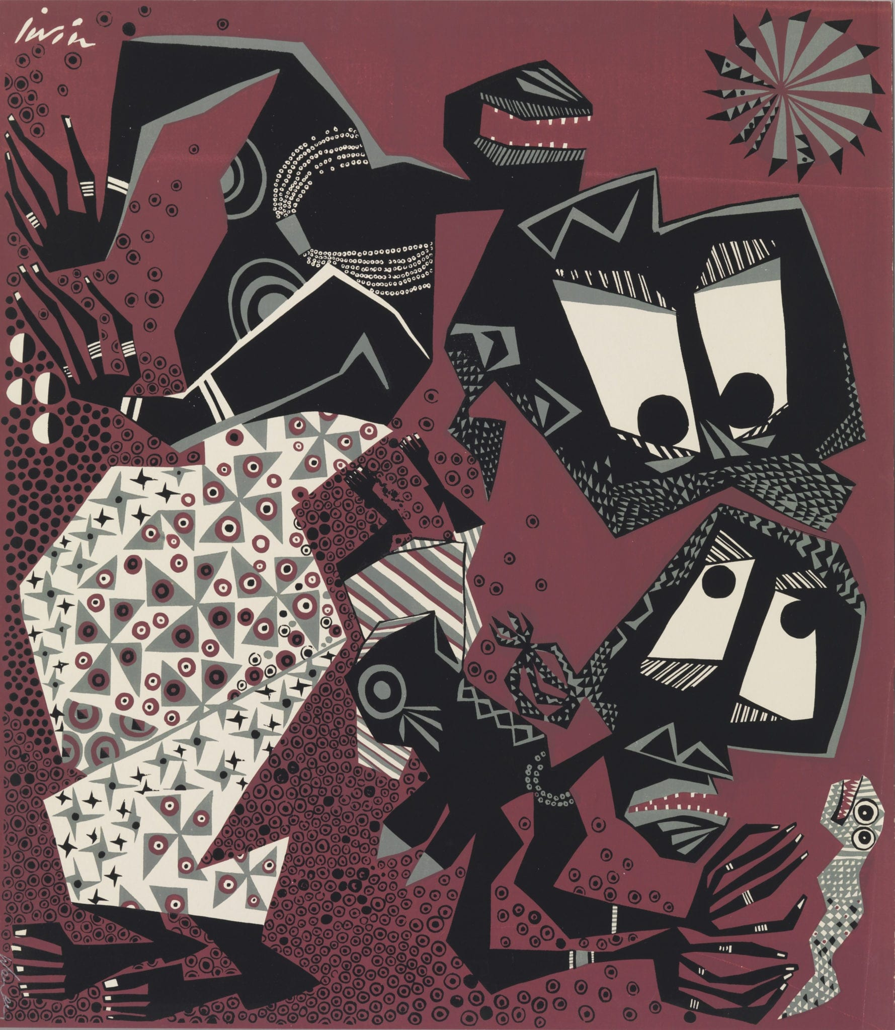 Susanne Wenger (Nigerian, Born Austria, 1915 – 2009) Untitled. ca. 1960. Screenprint. Gift of Graham and Maryagnes Kerr © Susanne Wenger Foundation. Photo by Bruce M. White, 2014, courtesy of the Michael C. Carlos Museum, Emory University.