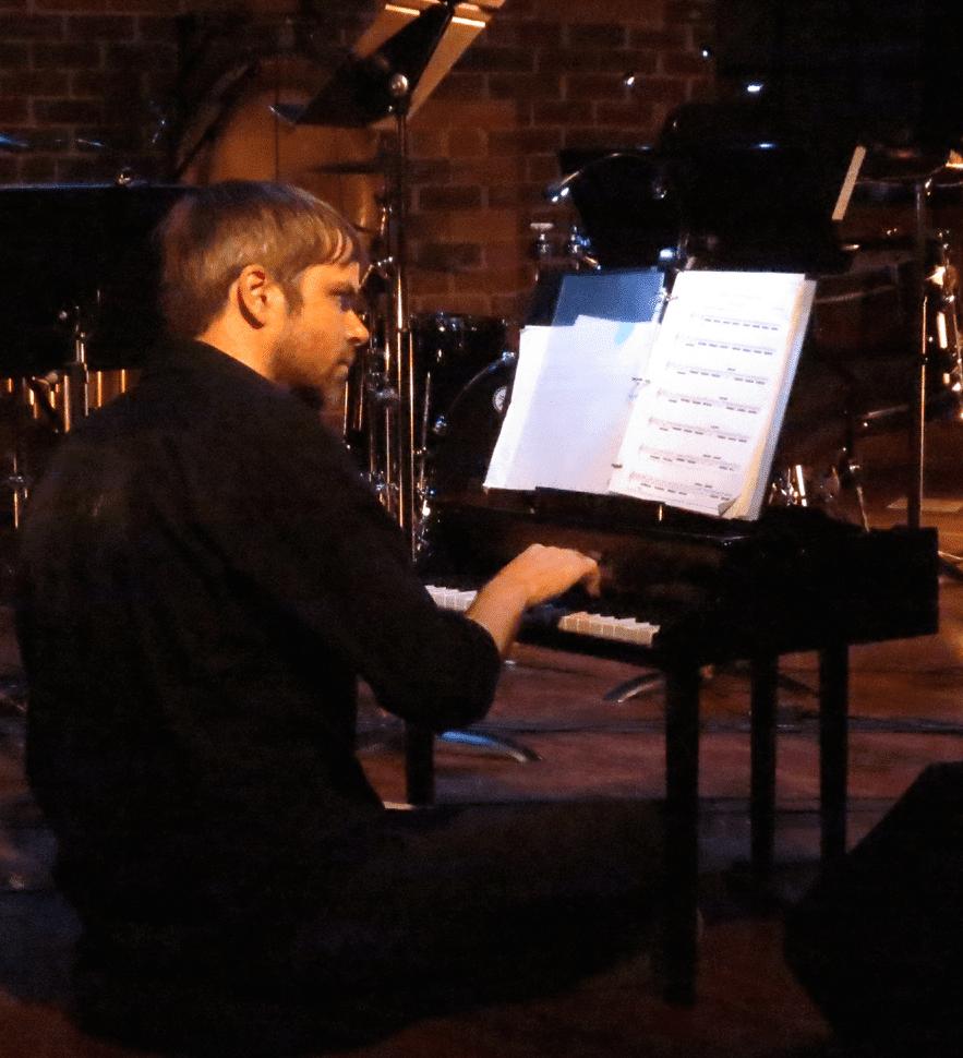 Sonic Generator's Tim Whitehead plays the toy piano. (Photo by Mark Gresham)