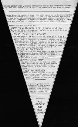 Flyer organizing  protest against Anita Bryant's appearance at the Southern Baptist Convention meeting, 1978. From Georgia State University archives.