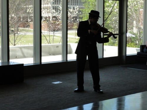 Tech student Ashutosh Singh performs in the Clough Undergraduate Learning Commons during the 2013 Tech Arts Festival.