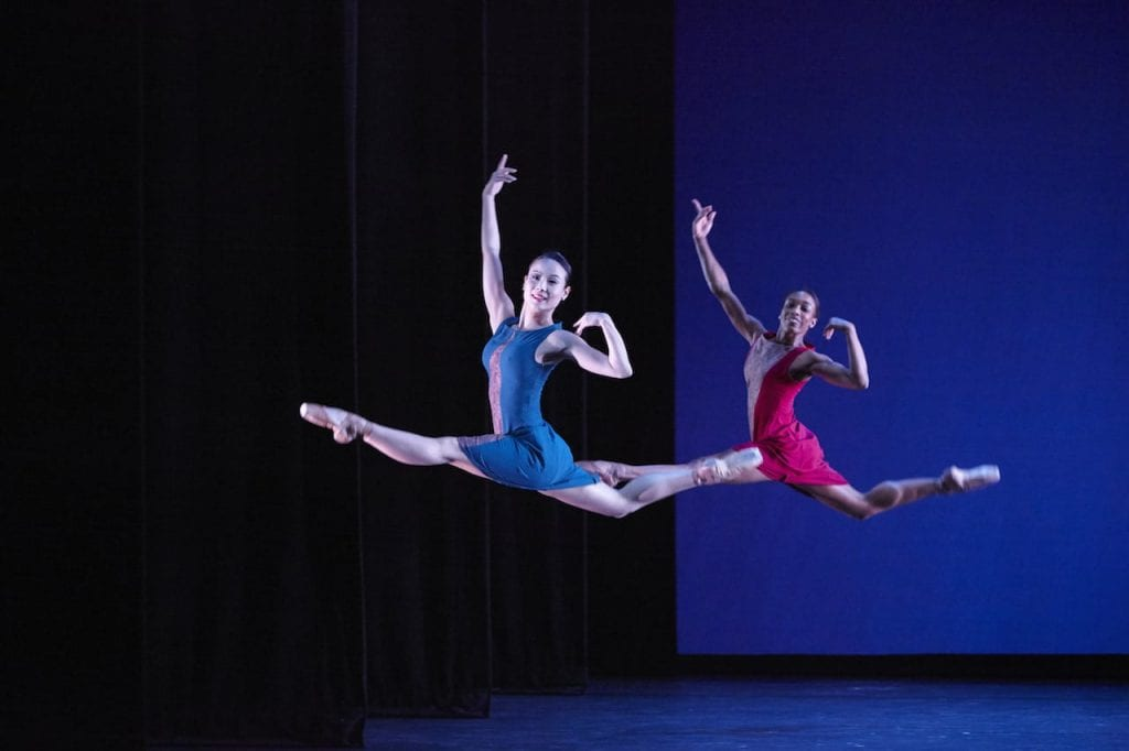 Yoomi Kim (left) and Kiara Felder in Angels' Share. (Photo by Kim Kinney)