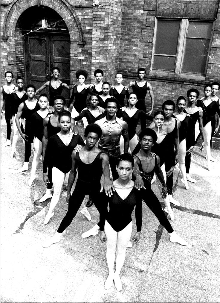 The Dance Theatre of Harlem; Arthur Mitchell is in the center.