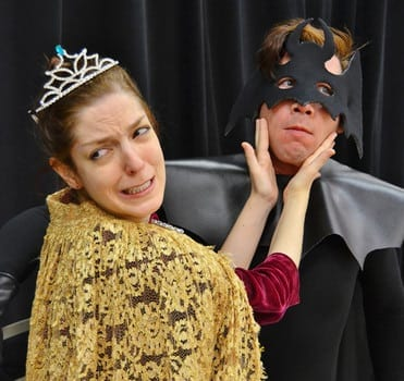 Who is that masked man? Topher Payne (with Megan Hayes) as Bat Hamlet at Essential Theatre in 2012.