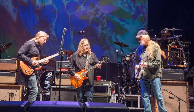 Sitting in with Derek Trucks (left) and Warren Haynes of the Allman Brothers.