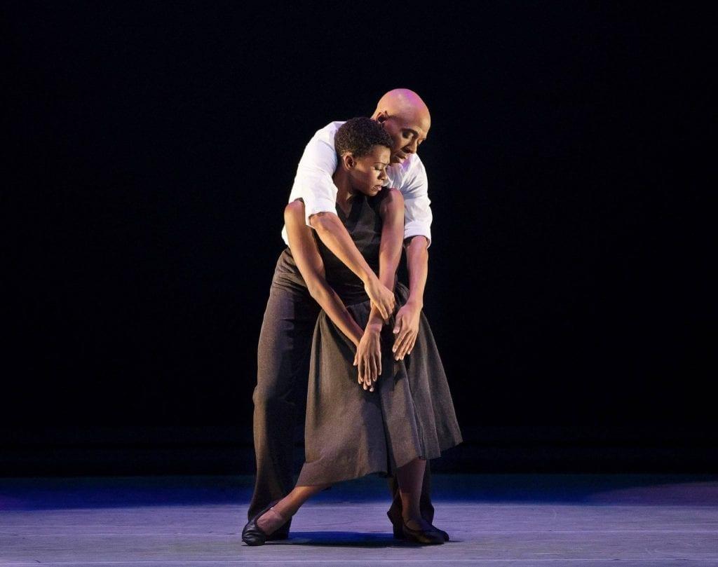 Rachael McLaren and Matthew Rushing in r-Evolution, Dream., (Photo by Paul Kolnik/Courtesy Alvin Ailey American Dance Theater)