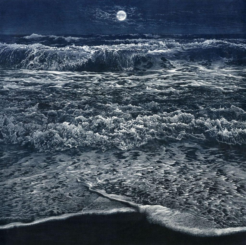 "Art Werger. ""Rising Tide."" Mezzotint. 24"" x 24"" image courtesy Kai Lin Art."