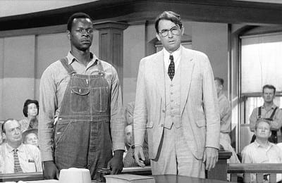 Gregory Peck, playing Atticus Finch, defends Boo Radley in court.