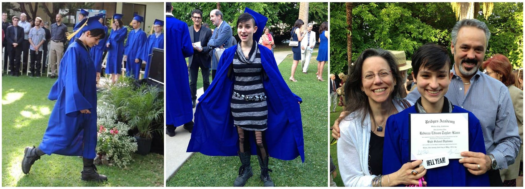 "Bex Taylor-Klaus at her high school graduation in May, wearing her ""Bullet"" boots."