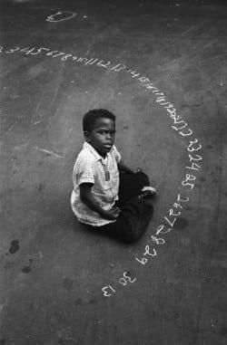 Harold Feinstein: Boy With Chalk Numbers, 1955