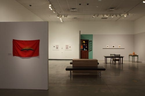 """Carolyn Carr's tableau""""Still Life""""  is on the right. Nikita Gale's """"I961 on the left. (Photo by Mike Jensen)"""