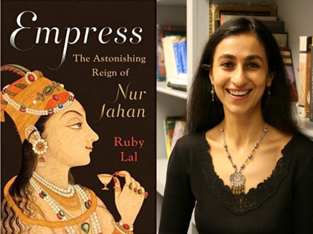 "A composite image shows author Ruby Lal and the cover of her book ""Empress"""