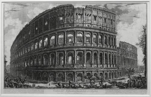 "Giovanni Battista Piranesi's 1761 eching,  ""View of the Flavian Amphitheater, called the Colosseum."" ©Michael C. Carlos Museum, Emory University. (Photo by Bruce M. White)."