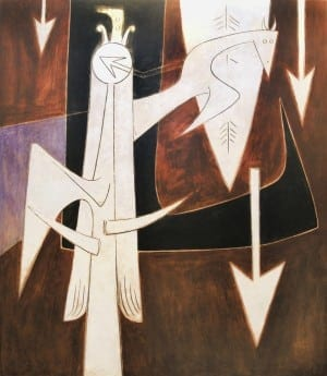 Wifredo Lam: Fresque , 1951, oil and mixed media on mortar. Private collection. © 2014 Artists Rights Society (ARS), New York/ADAGP, Paris.