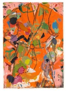 "Jim Dine"" ""Orange Birthday Robe"" 2010 Lithography, woodcut, copperplate etching, rubber stamp"