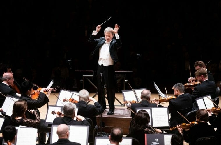 Guest conductor Yoel Levi leads the Atlanta Symphony Orchestra.