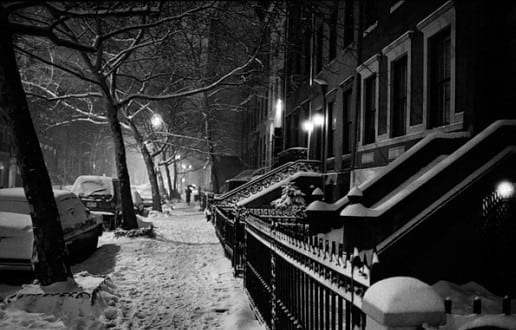 Harold Feinstein:  Night Snow W 11th Street, 1982, silver gelatin print.