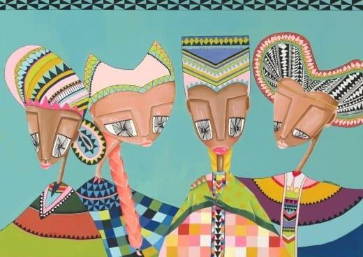 Hirut Yosef: 4 Women, acrylic on board.
