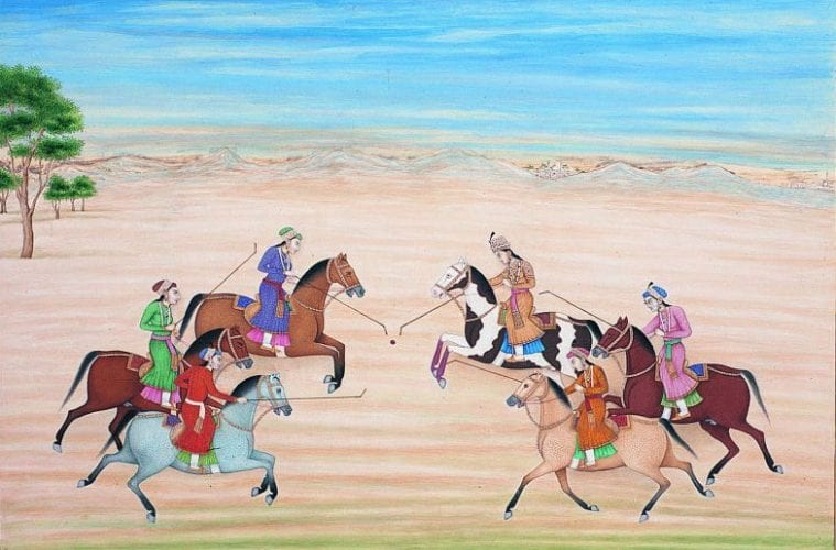 The Mughal Queen Nur Jahan playing polo with other princesses.