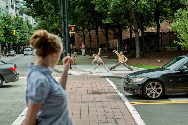 gloATL in rush-hour traffic at 10th and Peachtree streets. (Photo by Thom Baker)