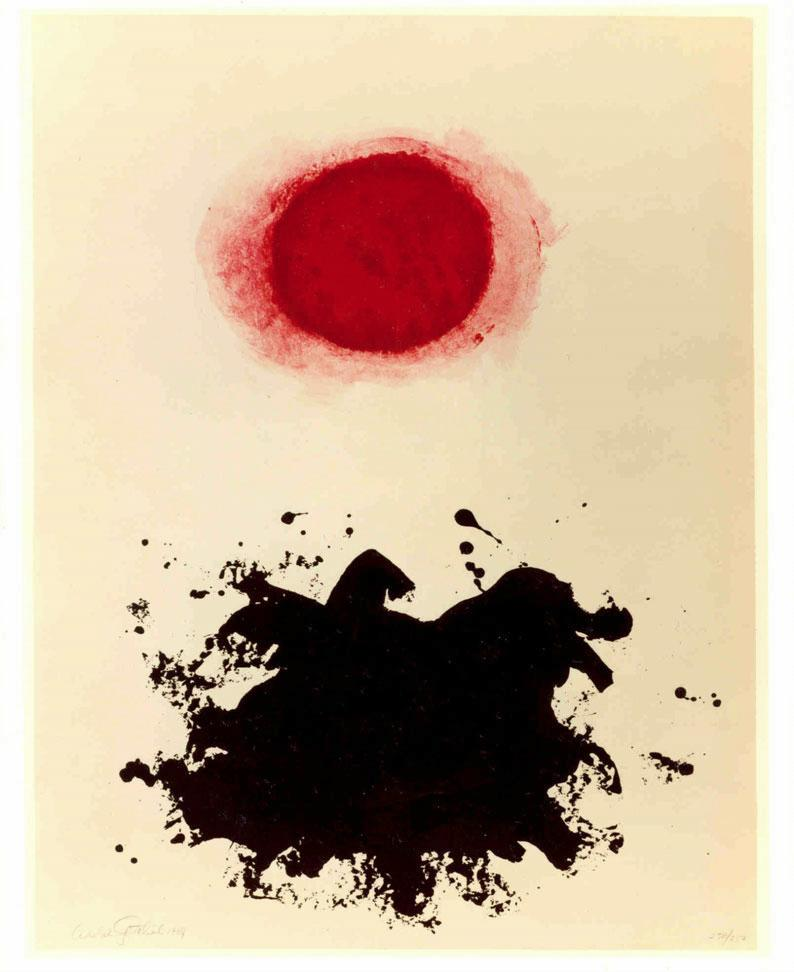 Adolph Gottlieb Untitled, New York, 1969 Deluxe Edition of Flight Portfolio, 1971 Lithograph in four colors Printer: Mourlot Paper/Deluxe Edition: Japan 25 3/4 in. x 19 3/4 in. Courtesy of the International Rescue Committee, Atlanta