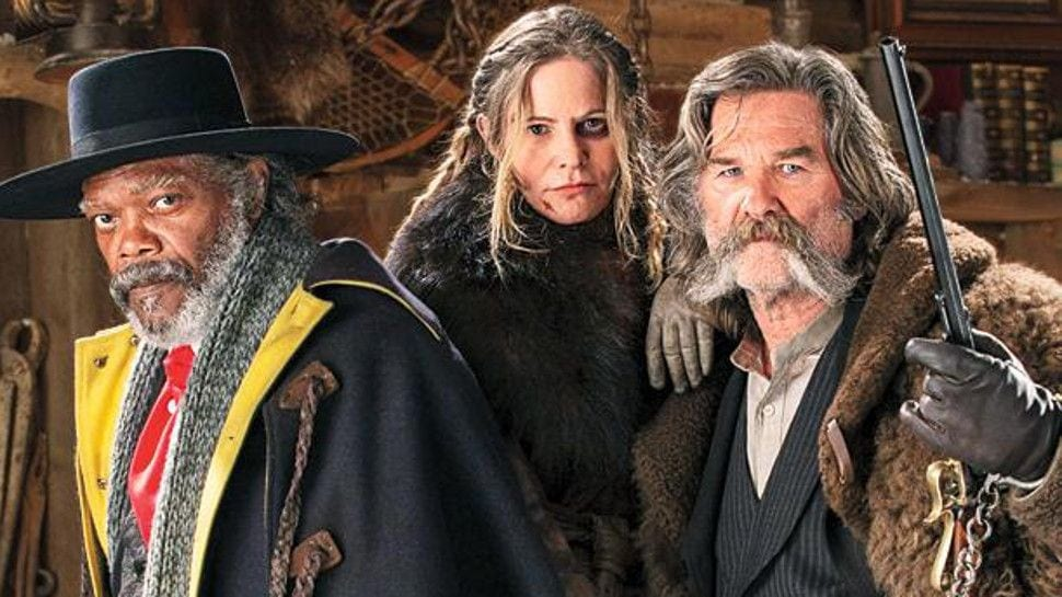 Samuel L. Jackson, Jennifer Jason Leigh and Kurt Russell in The Hateful Eight.